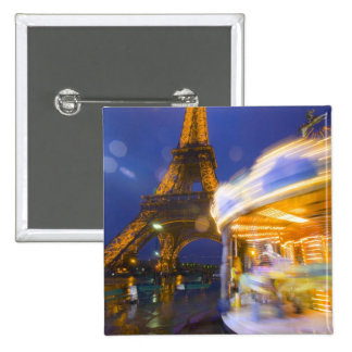 France, Paris. Eiffel Tower in twilight fog and 15 Cm Square Badge