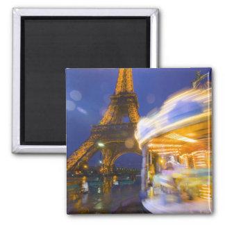 France, Paris. Eiffel Tower in twilight fog and Fridge Magnet
