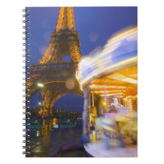 France, Paris. Eiffel Tower in twilight fog and Notebook