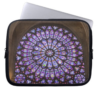 France, Paris. Interior detail of stained glass Computer Sleeves