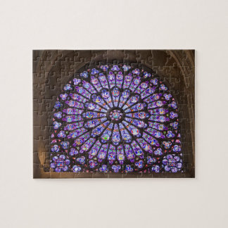 France, Paris. Interior detail of stained glass Jigsaw Puzzle
