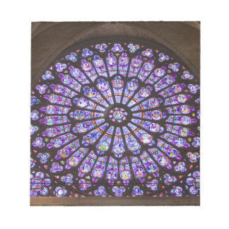 France, Paris. Interior detail of stained glass Notepad