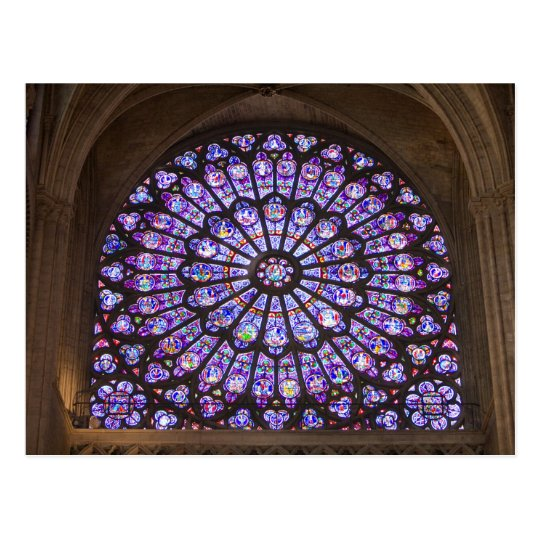 France, Paris. Interior detail of stained glass Postcard