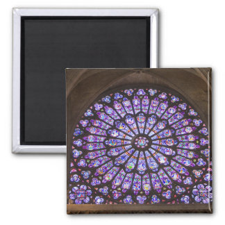 France, Paris. Interior detail of stained glass Square Magnet