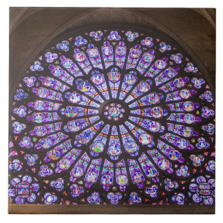 France, Paris. Interior detail of stained glass Tile