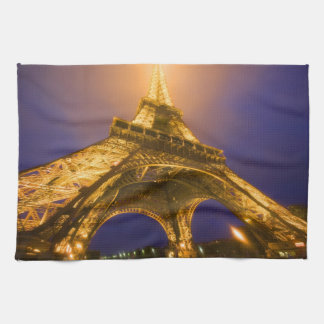France, Paris. Looking up from base of Eiffel Tea Towel