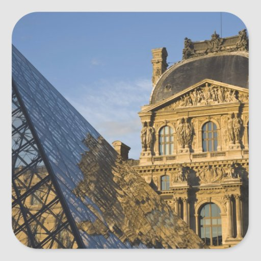 France, Paris, Louvre Museum and the Pyramid, Square Stickers