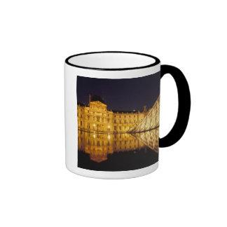 France, Paris, Louvre museum by night. Coffee Mugs