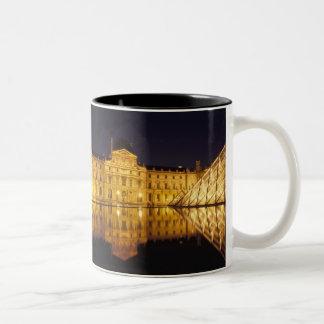 France, Paris, Louvre museum by night. Coffee Mug