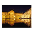 France, Paris, Louvre museum by night. Postcard