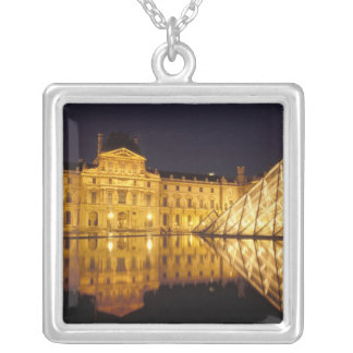 France, Paris, Louvre museum by night. Silver Plated Necklace