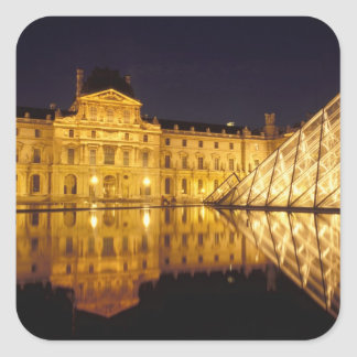 France, Paris, Louvre museum by night. Square Sticker