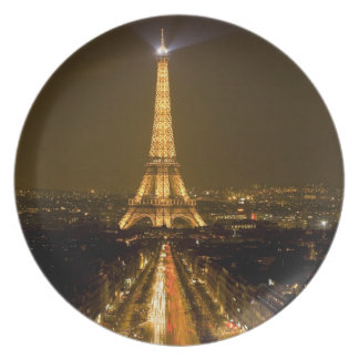 France, Paris. Nighttime view of Eiffel Tower Plate