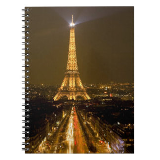 France, Paris. Nighttime view of Eiffel Tower Spiral Notebook