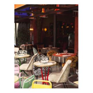 France, Paris, outdoor cafe Postcard