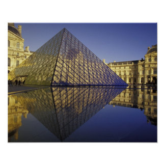 FRANCE, Paris Reflection, Pyramid. The Louvre Poster