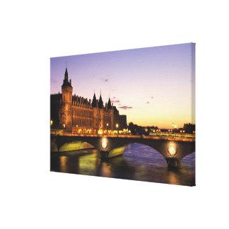 France, Paris, River Seine and Conciergerie at Canvas Print