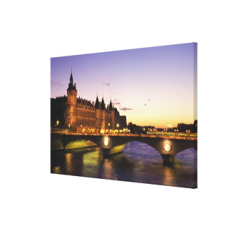 France, Paris, River Seine and Conciergerie at Canvas Print