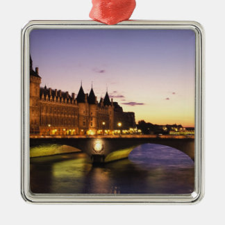 France, Paris, River Seine and Conciergerie at Christmas Ornament