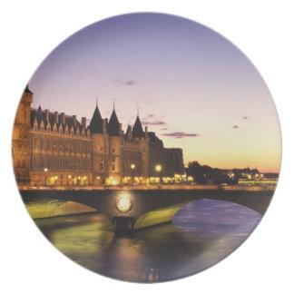France, Paris, River Seine and Conciergerie at Dinner Plates
