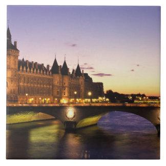 France, Paris, River Seine and Conciergerie at Large Square Tile