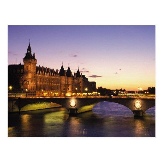France, Paris, River Seine and Conciergerie at Postcard