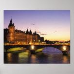 France, Paris, River Seine and Conciergerie at Poster