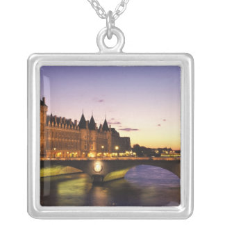 France, Paris, River Seine and Conciergerie at Silver Plated Necklace