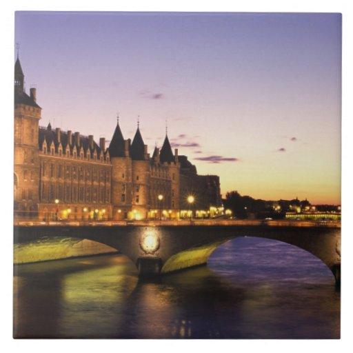 France, Paris, River Seine and Conciergerie at Ceramic Tile