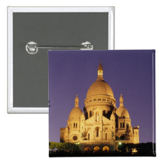 France, Paris, Sacré-Coeur at dusk. 15 Cm Square Badge