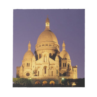 France, Paris, Sacré-Coeur at dusk. Notepad