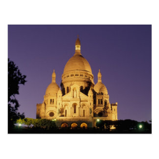 France, Paris, Sacré-Coeur at dusk. Postcard