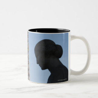 France, Paris, Statue of woman in front of Two-Tone Coffee Mug