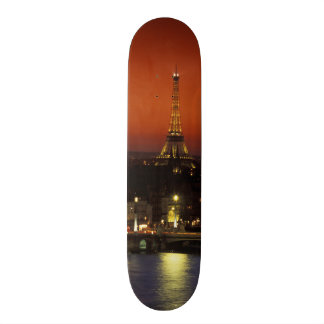 France, Paris Sunset view of Eiffel Tower and 18.1 Cm Old School Skateboard Deck