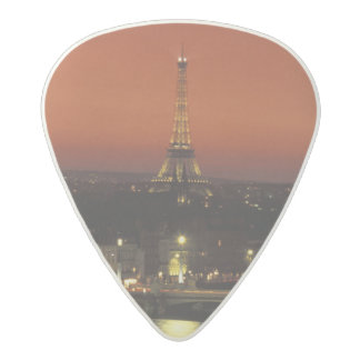 France, Paris Sunset view of Eiffel Tower and Acetal Guitar Pick