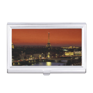 France, Paris Sunset view of Eiffel Tower and Business Card Holder
