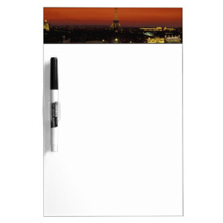France, Paris Sunset view of Eiffel Tower and Dry-Erase Whiteboard