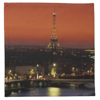 France, Paris Sunset view of Eiffel Tower and Napkin