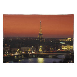 France, Paris Sunset view of Eiffel Tower and Placemat
