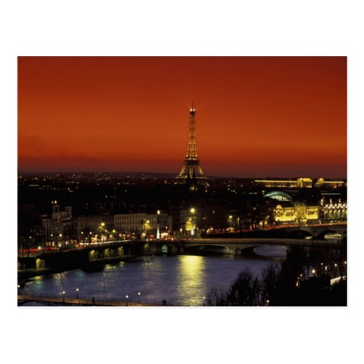 France, Paris Sunset view of Eiffel Tower and Postcards