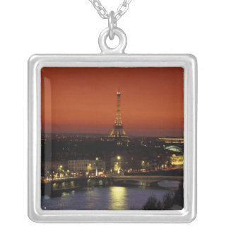 France, Paris Sunset view of Eiffel Tower and Silver Plated Necklace