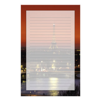 France, Paris Sunset view of Eiffel Tower and Stationery