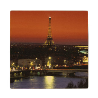 France, Paris Sunset view of Eiffel Tower and Wood Coaster
