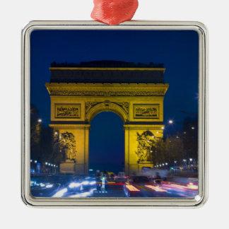 France, Paris. The Arc de Triomphe and the Silver-Colored Square Decoration