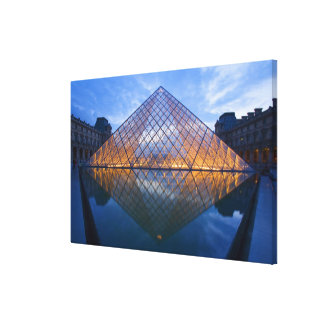 France, Paris. The Louvre at twilight. Credit 3 Canvas Print