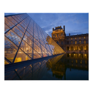 France, Paris. The Louvre at twilight. Credit 3 Poster
