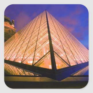 France, Paris. The Louvre museum at twilight. 2 Square Sticker