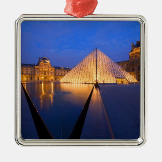 France, Paris. The Louvre museum at twilight. Christmas Ornament