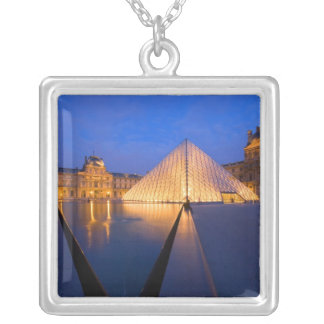 France, Paris. The Louvre museum at twilight. Silver Plated Necklace