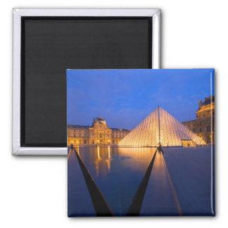 France, Paris. The Louvre museum at twilight. Square Magnet